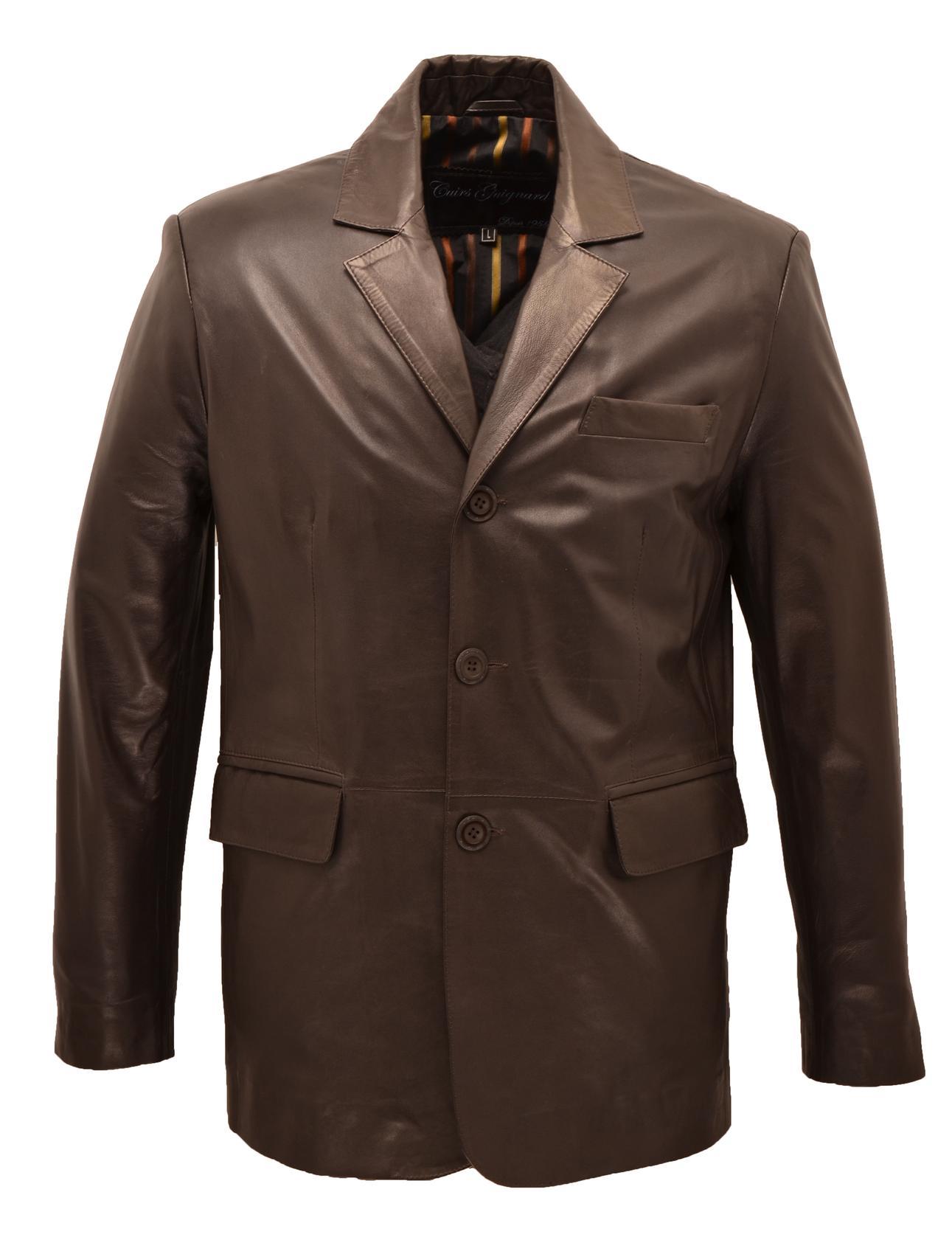 Vestes cuirs guignard en cuir agneau ref julien marron - Blazer homme marron ...