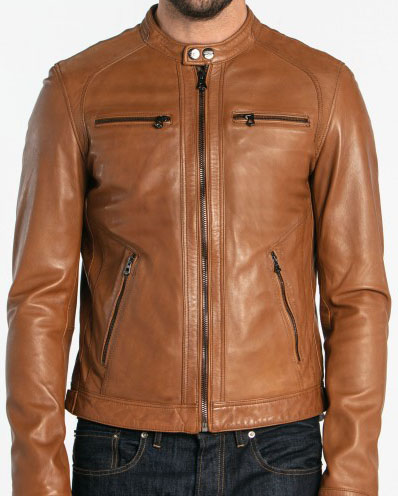 low priced 1696a 12d6a Giacca in pelle uomo marrone chiaro 101167
