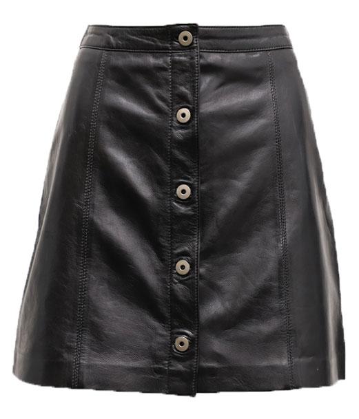 Robes Jupes Cuir En Cuir Agneau Ref 101468 Day19 Noir Noir