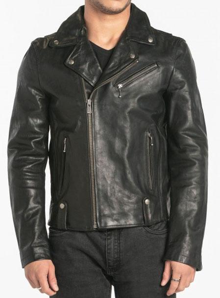 muy agradable baratas para la venta sitio web profesional Chaqueta de cuero negro para hombre estilo 101236.
