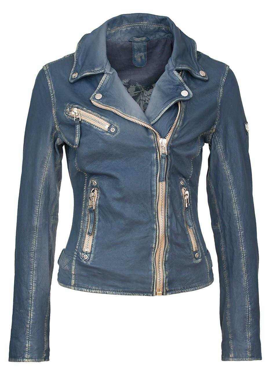 Blouson cuir bleu jean