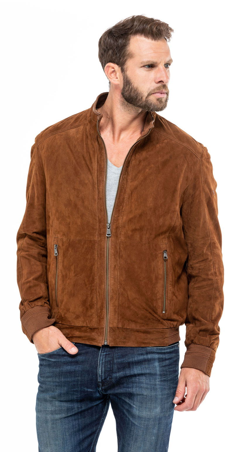 Blouson cuir homme aspect daim STANLEY