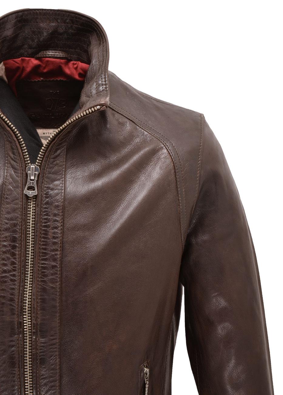 Blouson cuir style motard homme marron