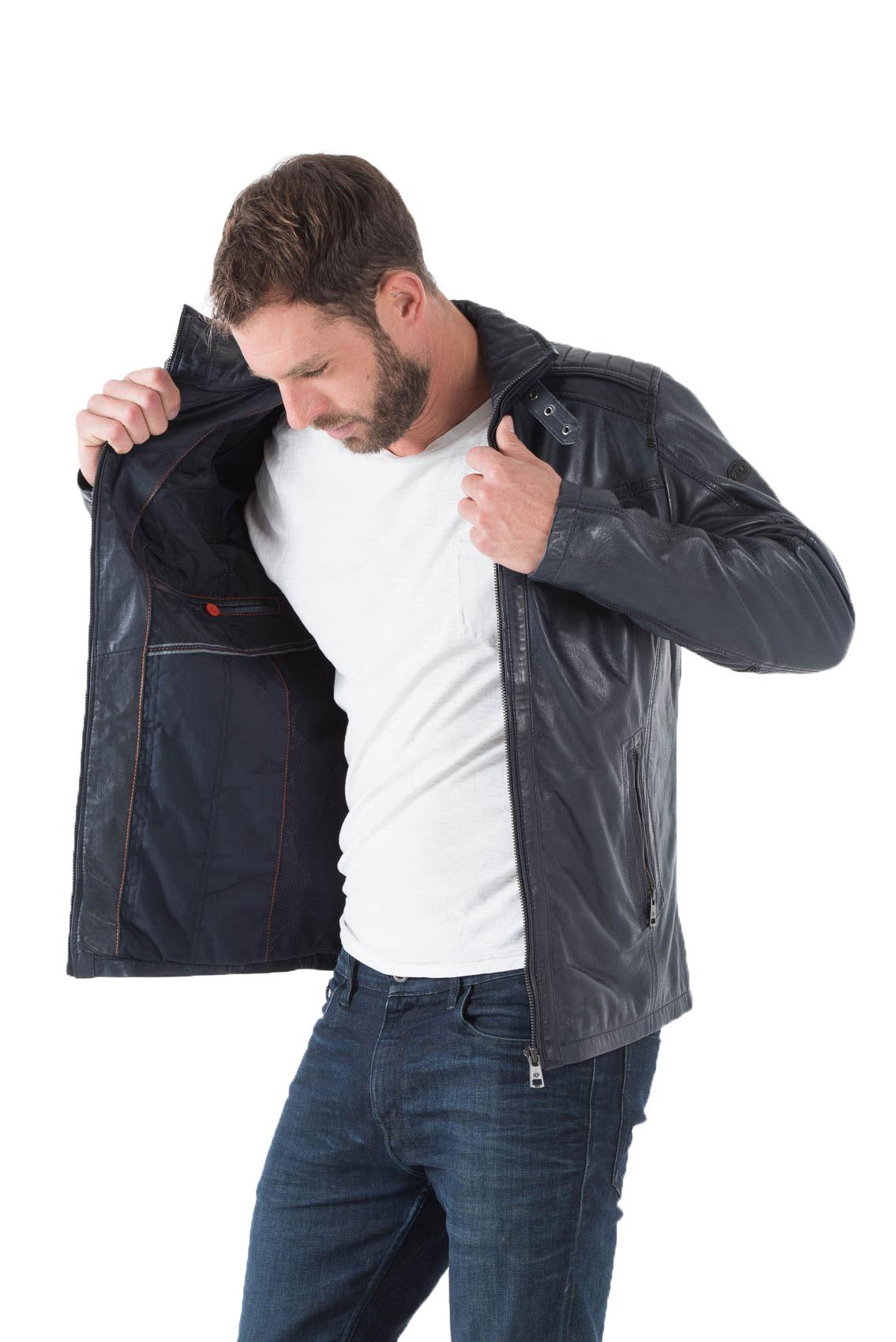 Veste en cuir homme bleu marine
