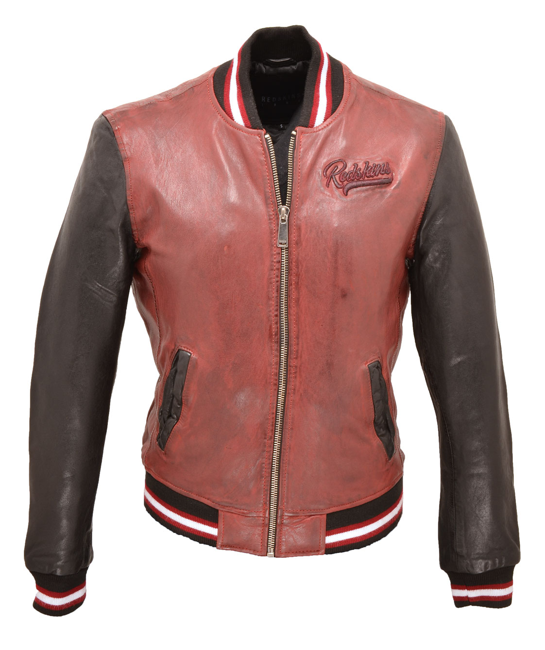 en soldes e0fde 8a080 Leather jacket man red and black style teddy 118