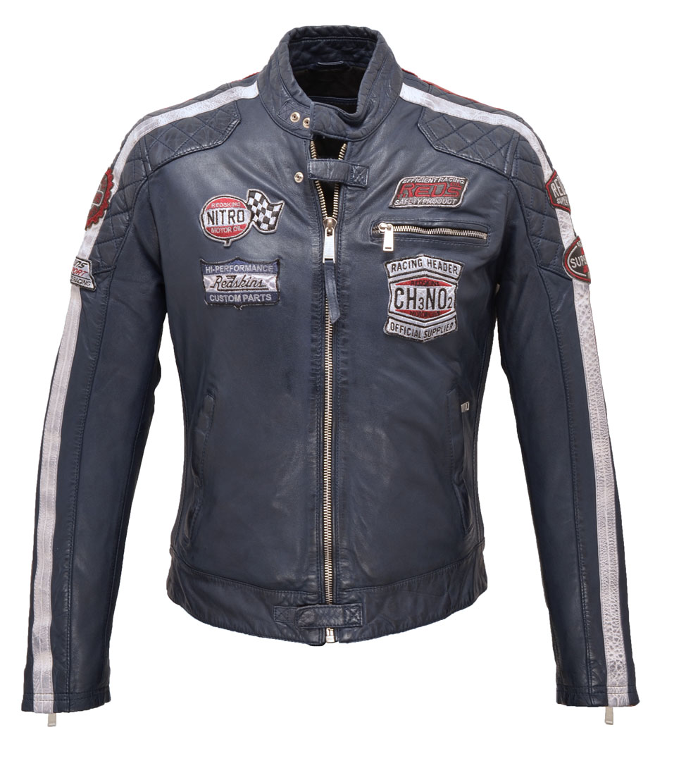 pas cher pour réduction bdf82 1b995 Men's leather jacket redskins blue style 117