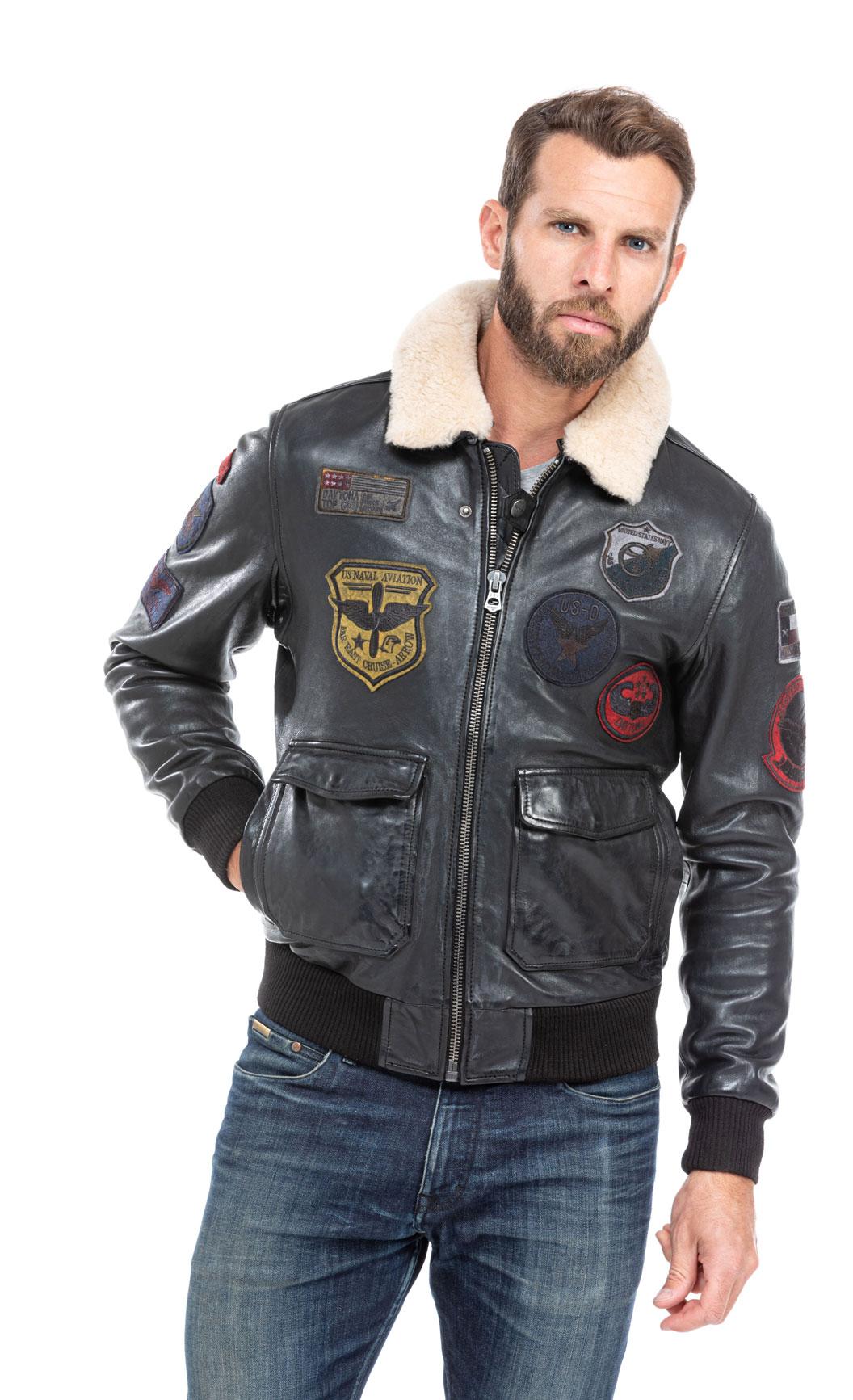 Blouson cuir aviateur Veste pilote en cuir pour Homme