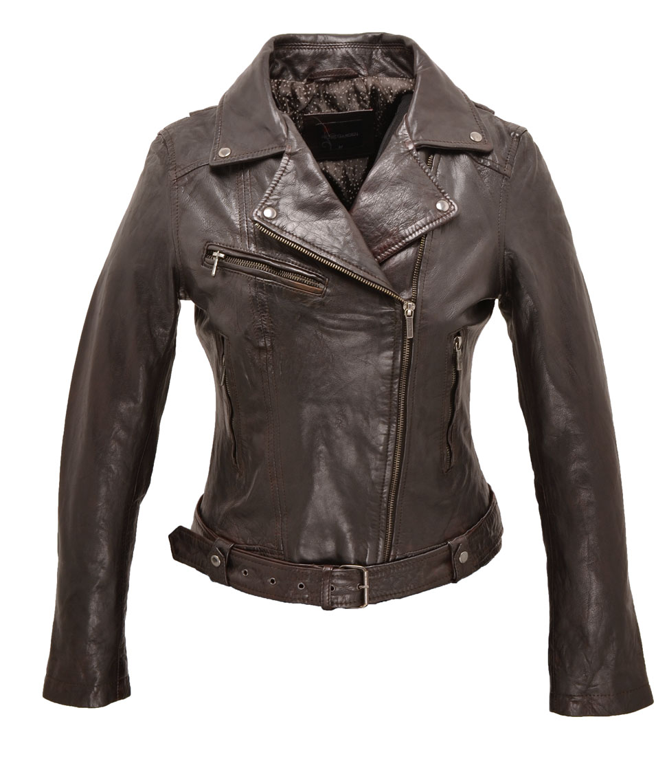 Blouson cuir perfecto femme red brown 101083 face