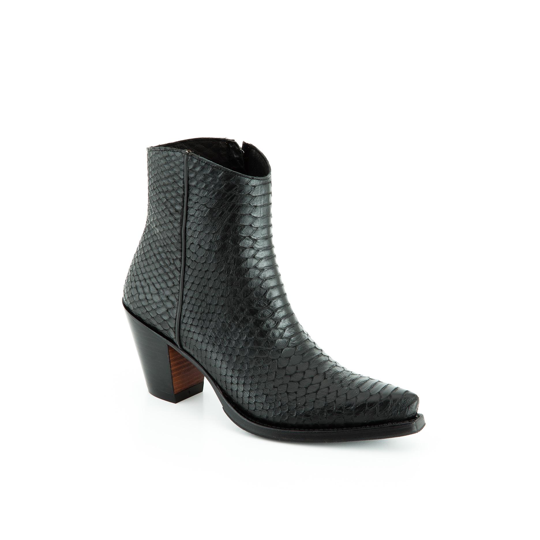 meilleure collection les ventes chaudes coupe classique Bottines cuir femme noir Sancho Abarca Boots 2258
