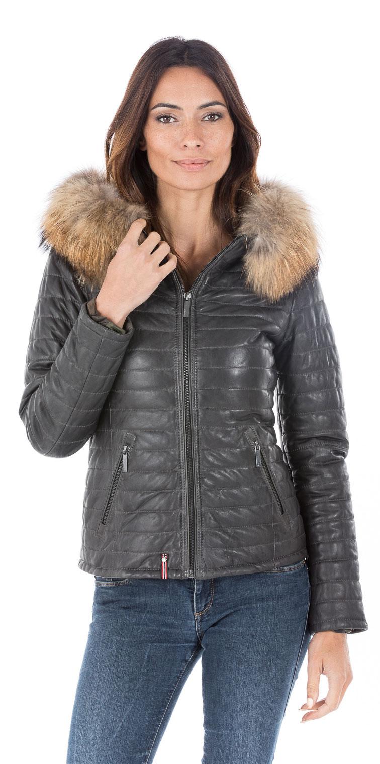 le dernier f49ec cf9f4 Blouson cuir femme gris style doudoune Oakwood