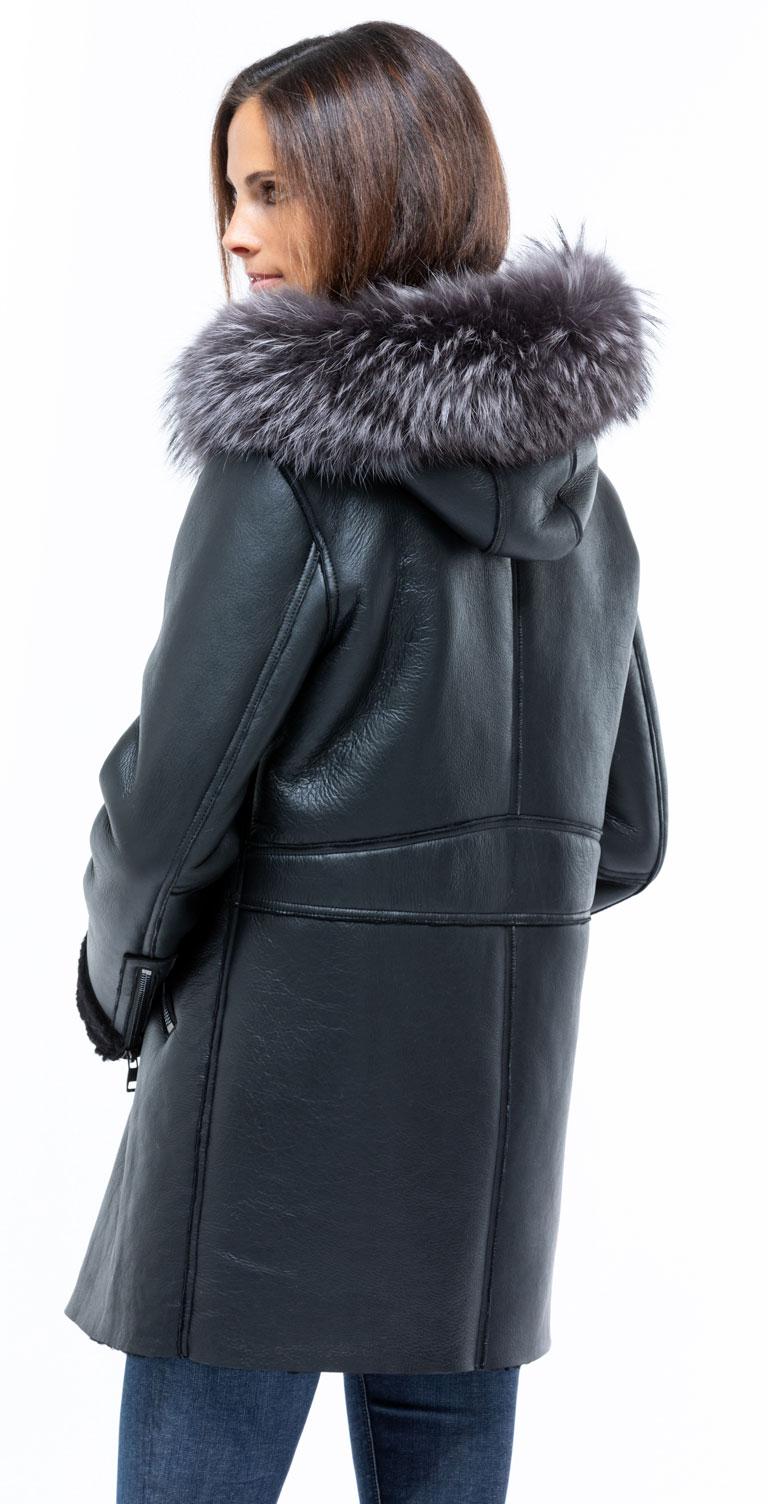 Femme Authentique Peau D'Agneau Manteau à Capuche Cuir