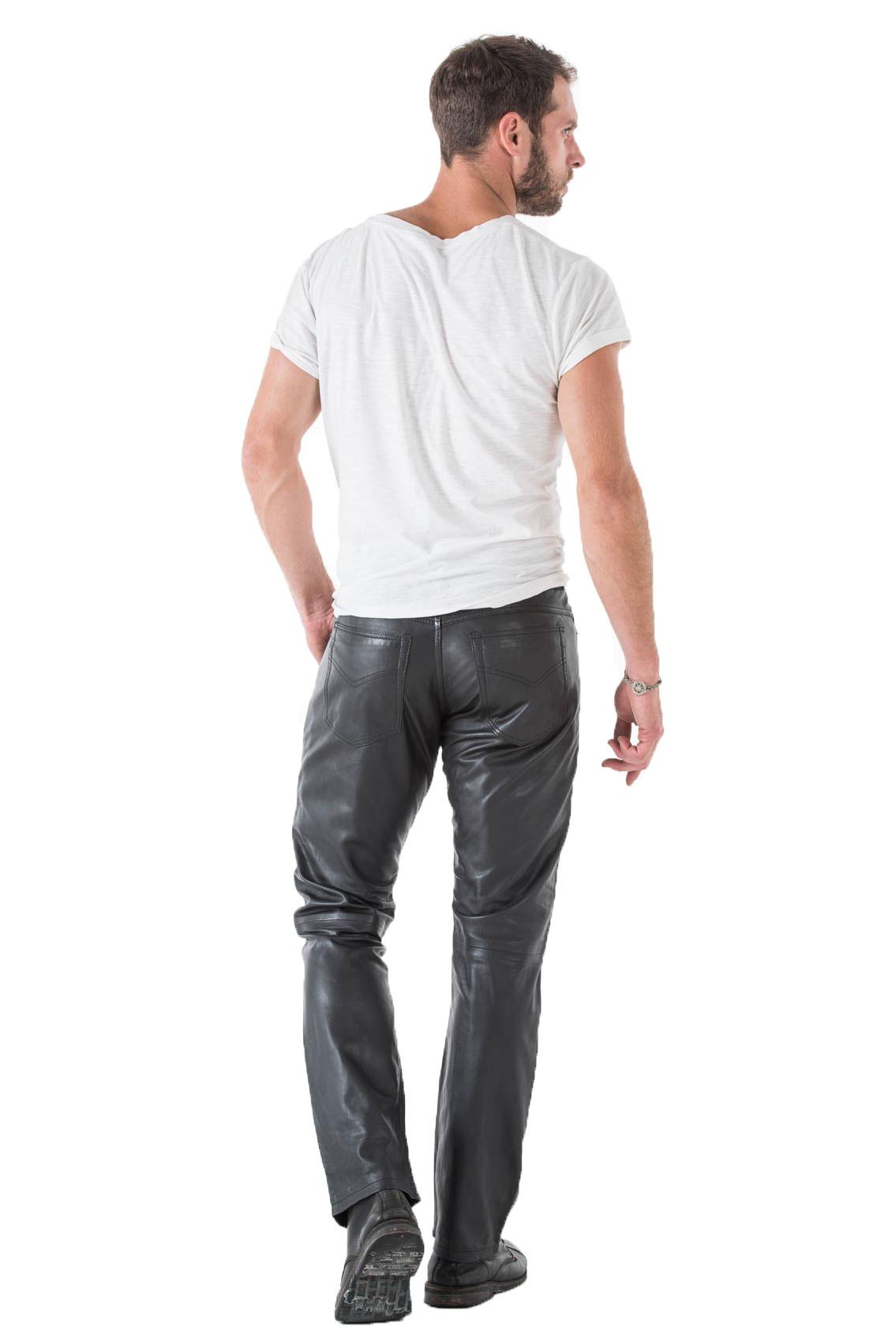 acheter en ligne fb771 eb6be Pantalon cuir vachette noir homme