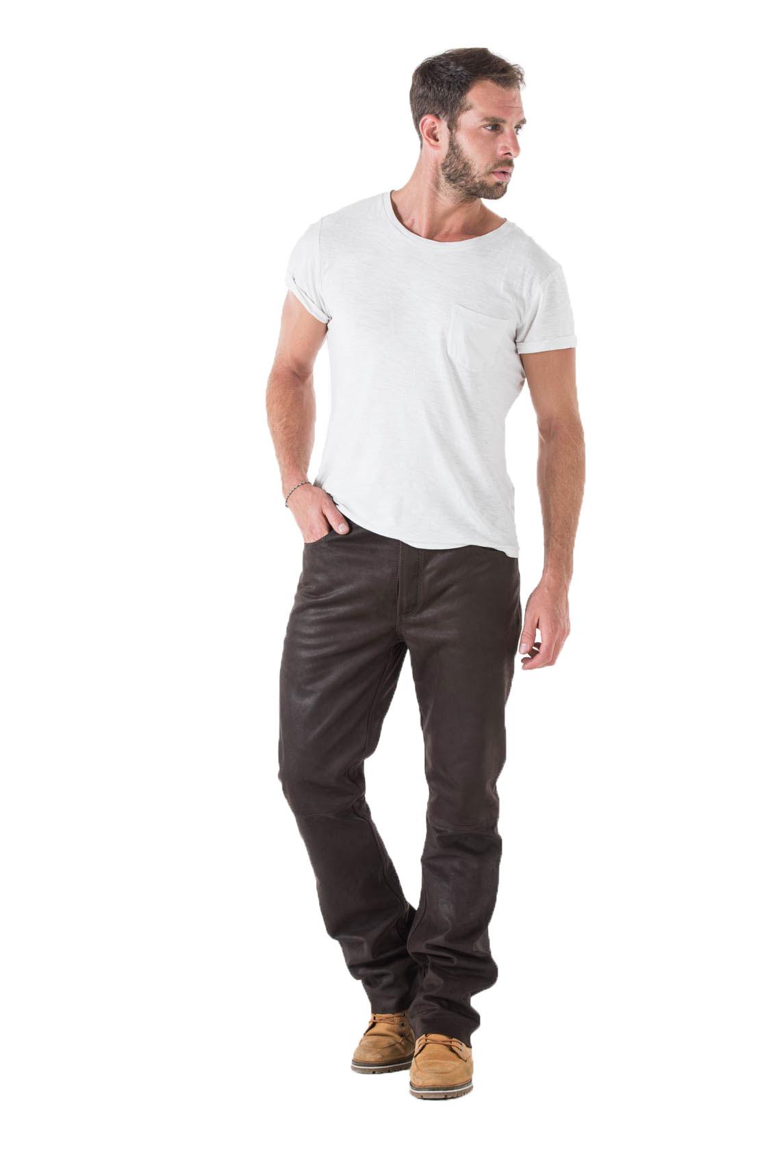9d7c9e06dca Pantalons cuir CUIRS GUIGNARD en cuir vachette-ref TROUSER marron ...