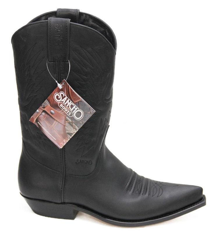 20619207f01 Black leather cowboy boots sancho abarca boots