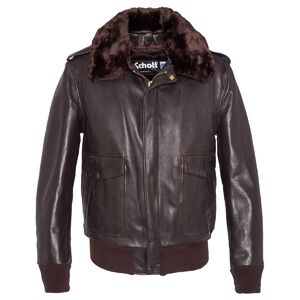 blouson cuir flight jacket  aviateur 184sm marron schott