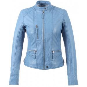 Blouson cuir femme bleu gris