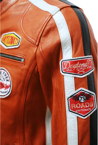 blouson cuir daytona style ecusons 101229 orange