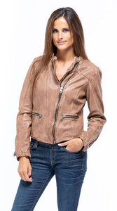 Blouson cuir femme agneau ginger 10252 col court style spencer mannequin (6)