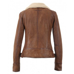 Blouson cuir femme agneau style perfecto Oakwood 62971-perfecto-projection-whisky dos