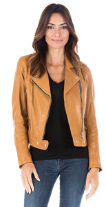 Blouson cuir femme moutarde perfecto 101156-000075