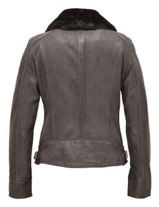 blouson cuir femme oakwood 62971 style perfecto col fourrure dos