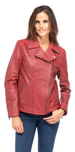 blouson cuir femme perfecto rouge grande taille 101355 (1)