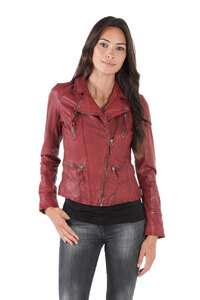 Blouson cuir femme rouge Oakwood 60861 style perfecto mode face