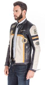 Leather jacket man redskins navy ivory runway rocho biker trend