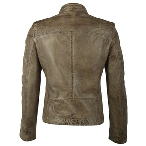 blouson cuir homme col mao style biker cave olive (1)