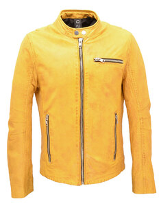 blouson cuir homme jaune young 11276col motard gipsy (1)