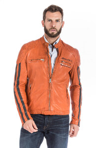 Blouson cuir homme orange redskins style motard ecussons 102-13940