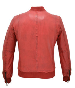 Blouson cuir homme redskins 110 rouge esprit bombers teddy  dos