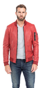 blouson cuir homme style teddy redskins 110 rouge (1)