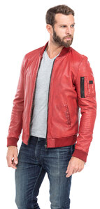 blouson cuir homme style teddy redskins 110 rouge (2)