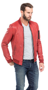 blouson cuir homme style teddy redskins 110 rouge (3)