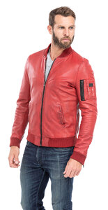 blouson cuir homme style teddy redskins 110 rouge (4)