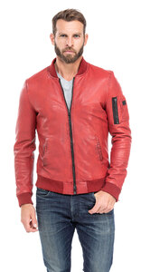 blouson cuir homme style teddy redskins 110 rouge (5)