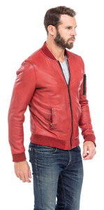 blouson cuir homme style teddy redskins 110 rouge (6)