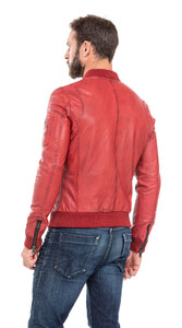 blouson cuir homme style teddy redskins 110 rouge (8)