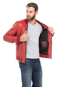 blouson cuir homme style teddy redskins 110 rouge (9)