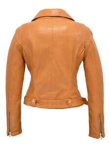 Blouson cuir perfecto femme moutarde 101123 dos