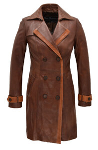 manteau cuir femme marron 5043 style trench face