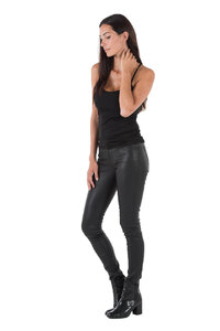 Pantalon cuir femme noir Oakwood 69171 legging stretch mode biais
