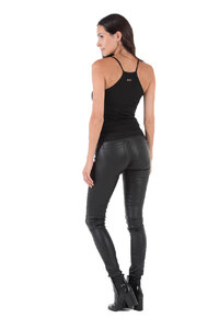 Pantalon cuir femme noir Oakwood 69171 legging stretch mode dos
