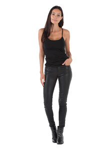 Pantalon cuir femme noir Oakwood 69171 legging stretch mode face