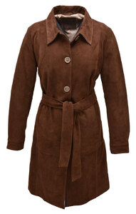 Trois quart cuir femme 2108 marron aspect velours trench (1)