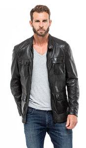 veste cuir homme agneau noir 9157 demi longueur sportwear mannequin (6) 2619d350c46d