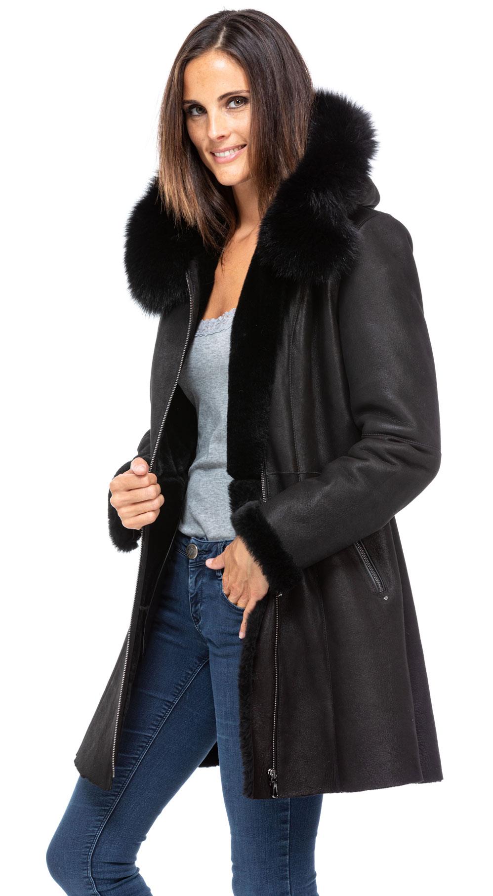 Manteaux cuir en cuir mouton ref napoli gen19 noir noir