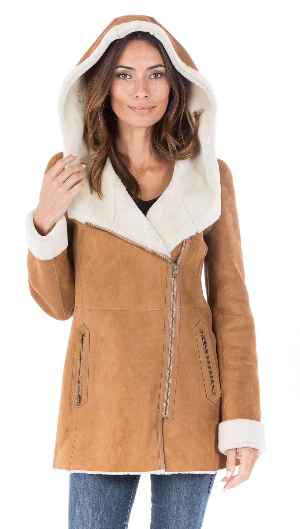 Manteau peau mouton retourne femme