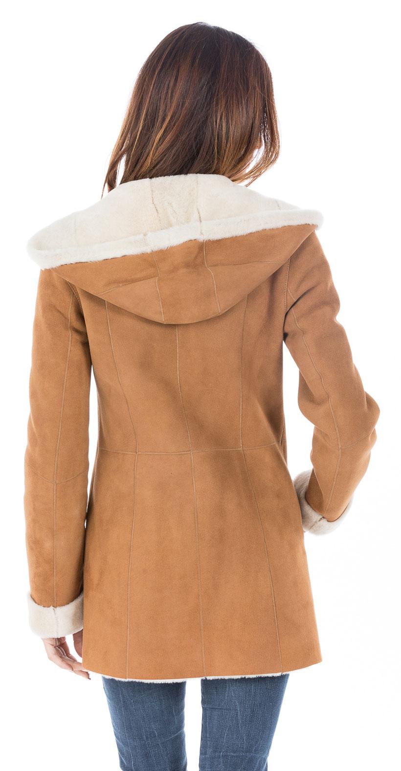 manteau cuir retourné femme capuche